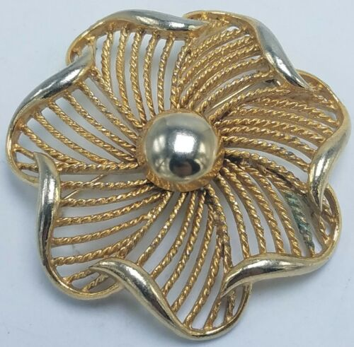 Vintage Round White Brooch  Pendant Combination with Twisted Rope Opened Work Gold Tone /& White Glass Cabochons,