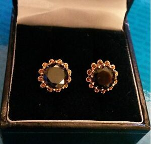 MR-Black-onyx-real-yellow-gold-filled-10mm-round-stud-earrings-GiFTBoXeD-Plum-UK