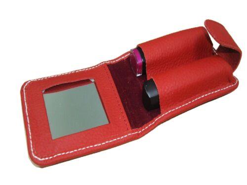 Rouge à lèvres Portefeuille avec miroir en cuir rouge violet noir jaune