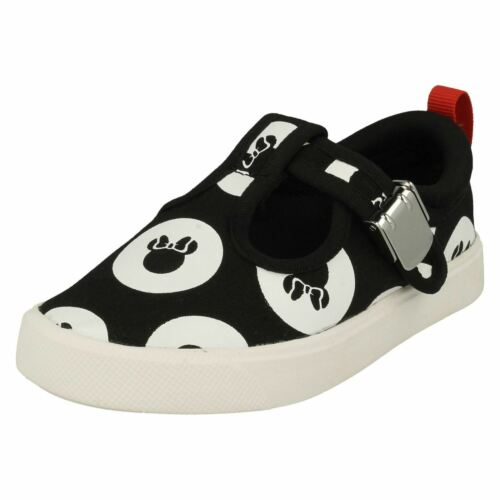Girls Clarks City Polka T T-Bar Canvas Casual Pumps F /& G Fittings