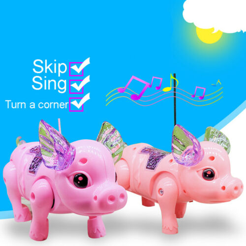 Lovely Electric LED Lighting Walking Musical Flying-Pig with Leash Toy Xmas Gift