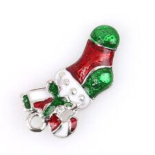 10pcs New Red&&White&Green Enamel Christmas Socks Alloy Pendant Fit Decoration L