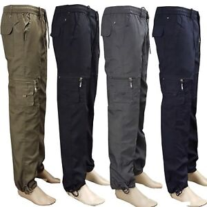 Mens Elasticated Summer Trousers lightweight Cargo Combat Shorts Work Pants