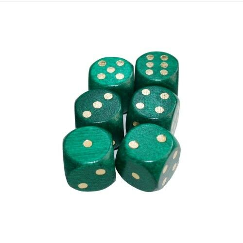 Dice - Special Embossing - Green gold - W6 - Wood - 16