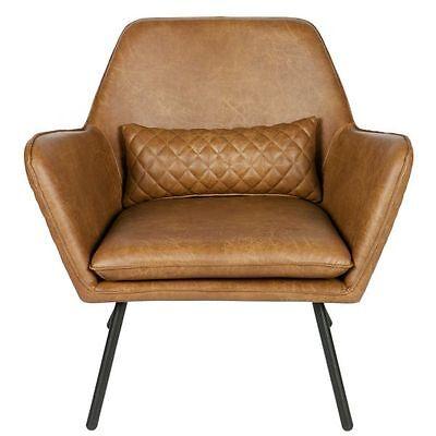 Woood Bryan Sessel cognac braun, Retro-Stil Vintage-Look Designsessel