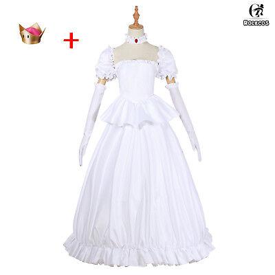 Bowsette Booette Princess Teresa White Long Dress Cosplay Costume Ball Gown Lot