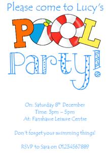 envs H1896 Pool Party Invitations Swimming Kids Birthday Boys or Girls x 12