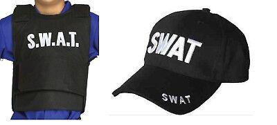 Adult Black SWAT Team Vest And Cap Hat Cop FBI American Fancy Dress Costume Set