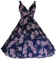 Ladies 1940's 1950's Retro Vintage Style Navy Floral Chiffon Tea Dress New 10-20