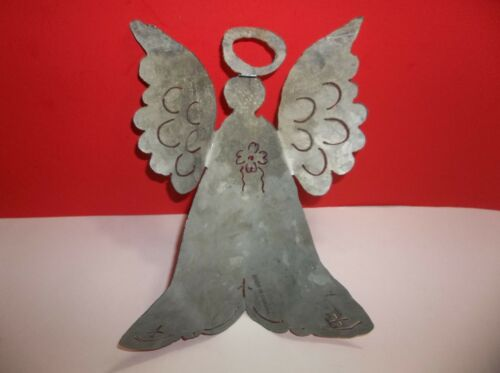 """Vintage Pierced Tin ANGEL Christmas Ornament Decoration Made In CANADA 11/"""""""