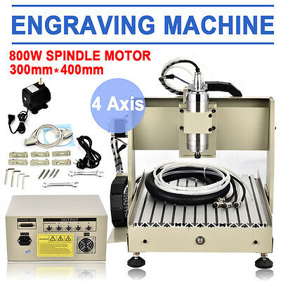 3040 4AXIS 800W CNC ROUTER ENGRAVER ENGRAVING MACHINE CARVING 3D CUTTER+MACH3 US