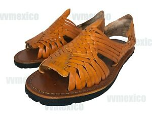 mens leather mexican sandals traditional orange huarache slip ons  sizes ebay