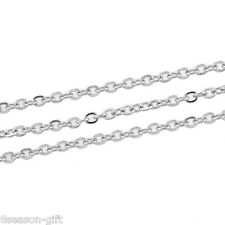 """5x10M Silver Tone Cable Link-Soldered Chain Findings 2mm(1/8"""")x1.5mm"""