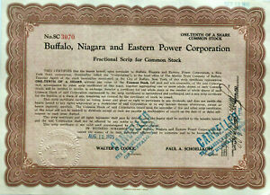 Buffalo-Niagara-and-Eastern-Power-Corp-gt-1925-New-York-falls-stock-certificate