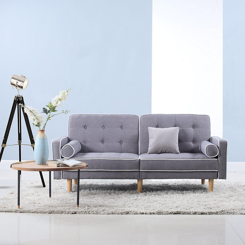 Divano Roma Furniture Mid Century Modern Splitback Tufted Linen