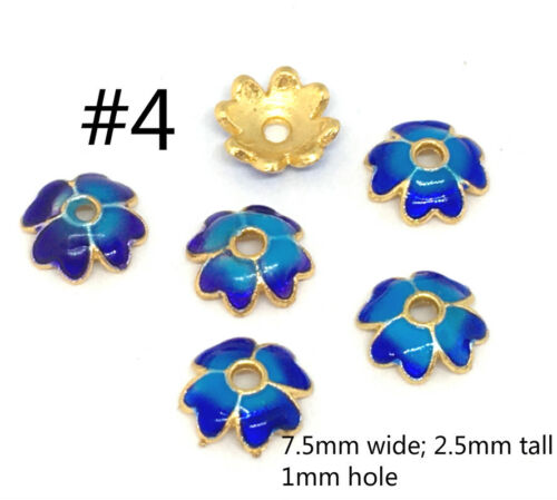 4pc gold finish brass made enamel bead caps-pls pick a style