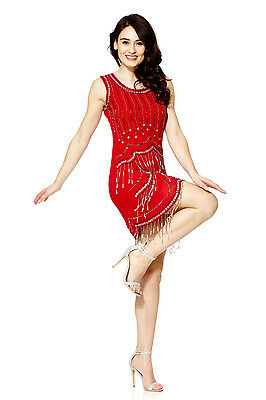 Red Vintage 1920s Flapper Gatsby Downton Abbey Fringe Beaded Dress Size 8-24
