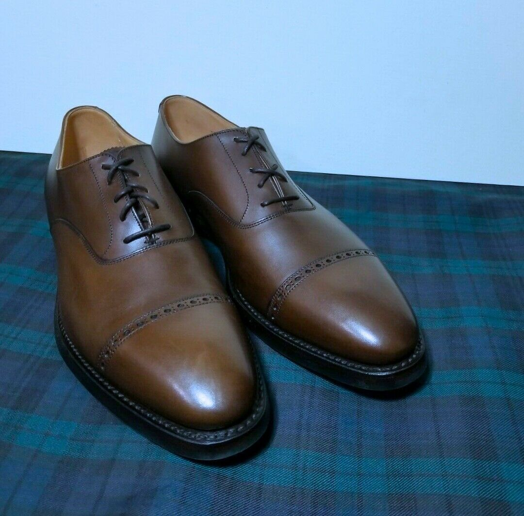 RALPH LAUREN COLLECTION redHBURY OXFORD CALF SHOE  (SIZE 12. D) MADE IN ENGLAND
