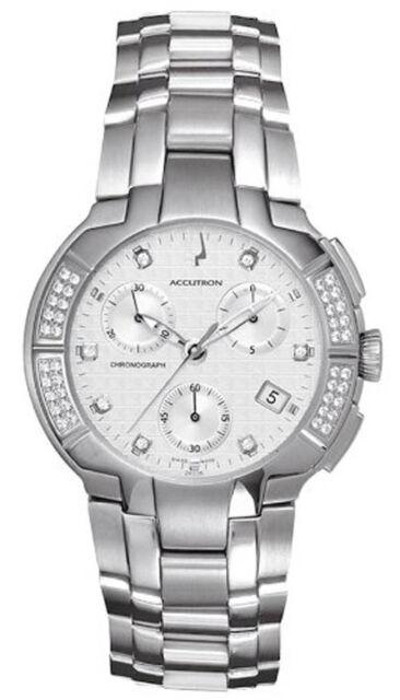 Bulova 26E05 York White Dial Diamond Stainless Steel Chronograph Men's Watch