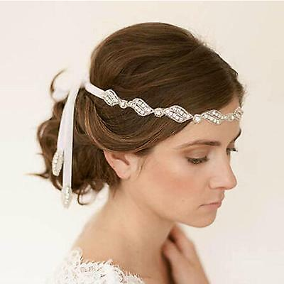 Women's Girl Wedding Party Bride Crystal Beaded Ribbon Headband Hair Band Decor