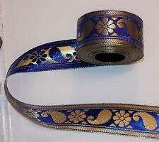 40mm indigo blue gold jacquard embroidered ribbon applique motif trimming decor