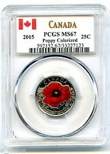 2015 CANADA 25 CENT PCGS MS67 POPPY FLANDERS REMEMBRANCE QUARTER TOP POP=38
