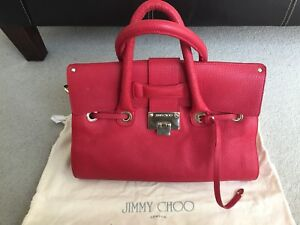 f0233df9a85 Image is loading Authentic-Red-Leather-Preowned-Jimmy-Choo-Bag-in-