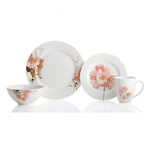 Floral 16 Pièce Dinnerware Set Porcelaine Service pour 4 bol assiette VAISSELLE Tasse Nouveau
