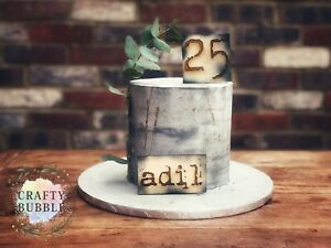 WOODEN-ENGRAVED-NAME-AGE-CAKE-TOPPER-PERSONALISED-BIRTHDAY-RUSTIC-URBAN-LOOK