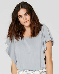 New-Simply-Be-Women-039-s-Grey-Ruffle-Sleeve-Top-Size-32-20-RRP