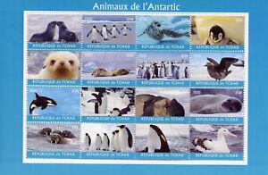 Chad-2018-CTO-ANIMALI-DELL-039-ANTARTIDE-16v-M-S-PINGUINI-Birds-sigilli-BALENE-FRANCOBOLLI