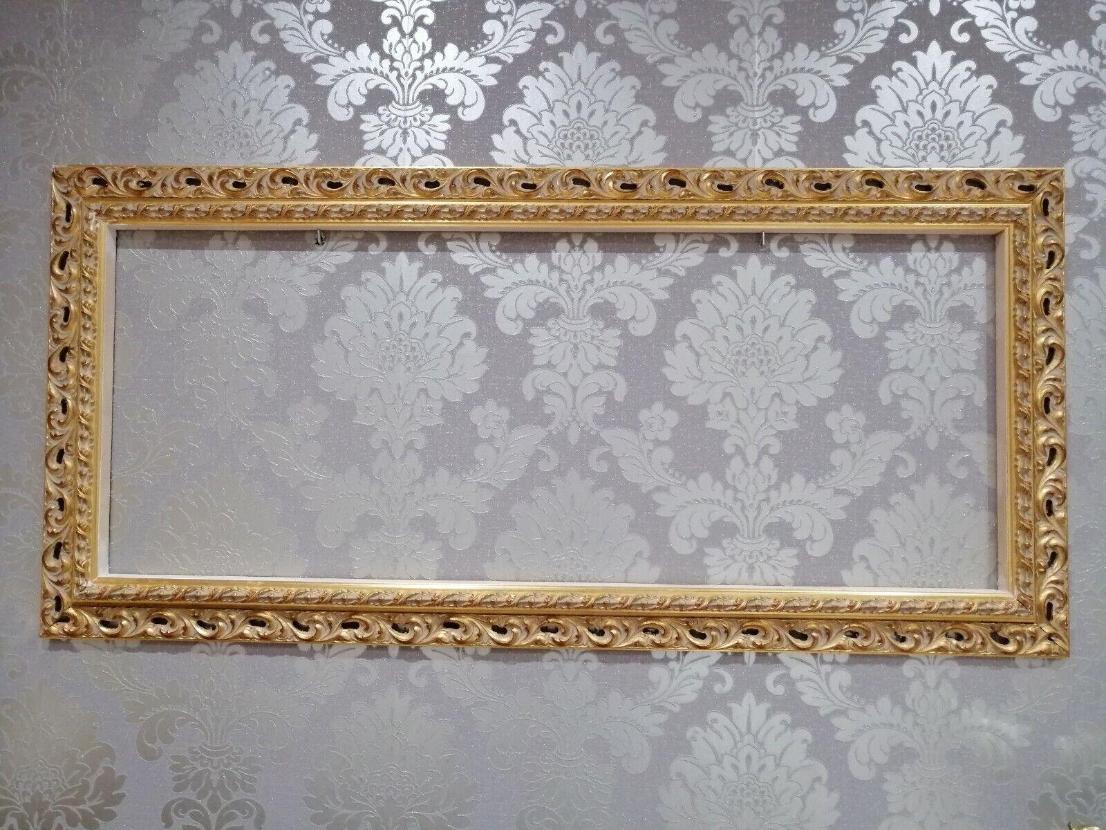 Cornice traforata asta Quadro in legno pino Gold anticato misura perzonalizzata