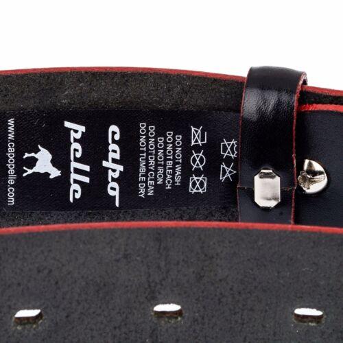"""Capo Pelle Men/'s Belts Red edges Black belt for Men Italian Leather size 32-44/"""""""