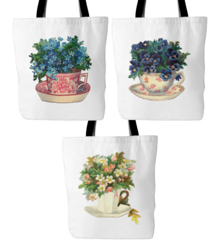 """Flowers in Vintage Teacup Prints on 18/""""x18/"""" Lined White Tote Bag Mother/'s Day"""