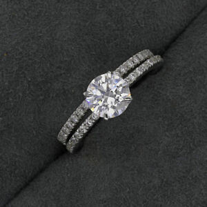 1.60 Ct Certified Moissanite Engagement Band Set Solid 18K White Gold Size 5 6