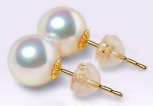 Gorgeous AAAA 10-11mm natural south sea white pearl stud earrings 18k solid gold