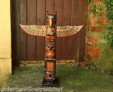 Wooden Totem Pole 60cm Hand Carved Garden Ornament Statue Tribal Native American