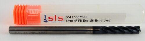 6mm Carbide Endmill 4 Flute Flat Bottom Extra Long TiAlN