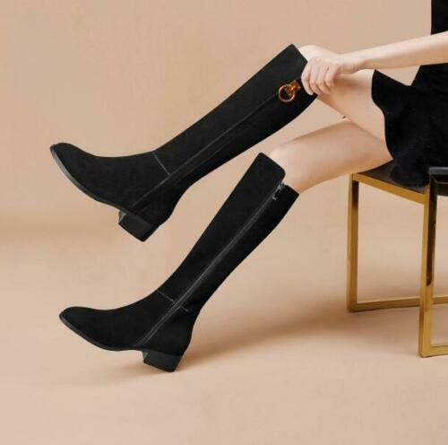 Details about  /Womens Winter New Black High Boots Fashion Simple Wild Knee-high Boots Low Heels