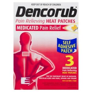Dencorub Self Adhesive Medicated Pain Relieving Heat Patches 3 pack