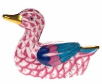 HEREND BABY COLLECTION, BABY DUCK PORCELAIN FIGURINE, RASPBERRY FISHNET FLAWLESS