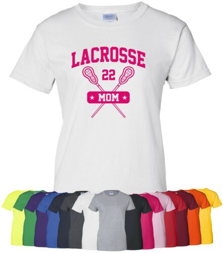 """Personalized /""""Lacrosse Mom/"""" Ladies Tee or T-Shirt Sz S-4XL custom sports mother"""