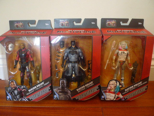 Mattel dc comics suicide squad multiversum 6  harley quinn, deadshot & batman mrd.