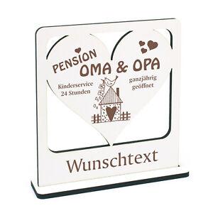 Pension Oma und Opa Deko-Aufsteller Herz mit Wunschtext Holz Geschenk 16x16cm ❤️