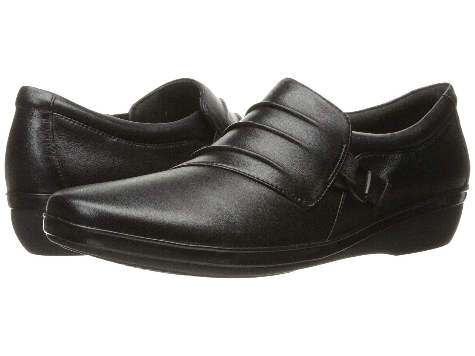 CLARKS Ladies EVERLAY HEIDI HEIDI HEIDI Loafers BLACK Leather Sz. 10 M  NIB 19702b