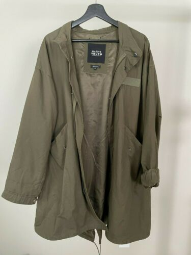 Native Youth Trench Coat Parka, Olive Green, Size… - image 1