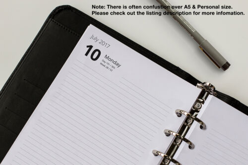 START-ANY-MONTH Fits Filofax Personal /& A5 Day-to-Page Refills 19//20