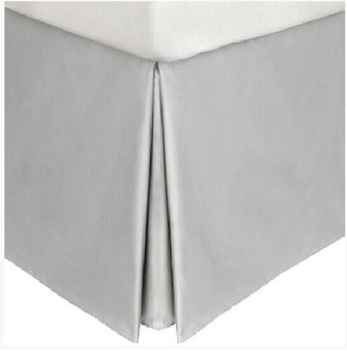 Split Corner Tailored Bed Skirt Solid Silver 600 TC Cotton All Size Drop Length