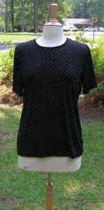 Women-039-s-Shirt-Size-Medium-black-Dots-Jaclyn-Smith-Tee-NOS-new-old-stock-T30