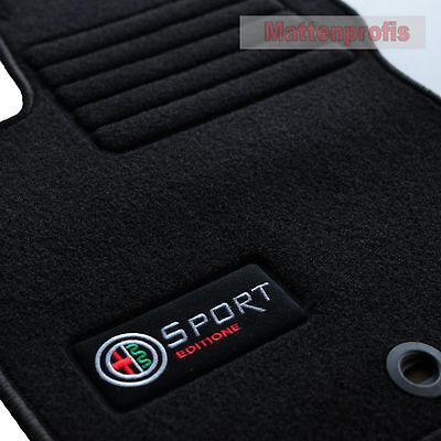 Velours Fußmatten Edition Logo für Alfa Romeo Giulietta 940 ab Bj.2010-2013 sw